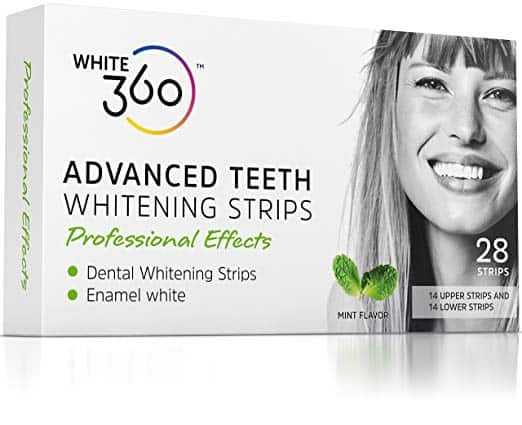 white 360 teeth whitening strips